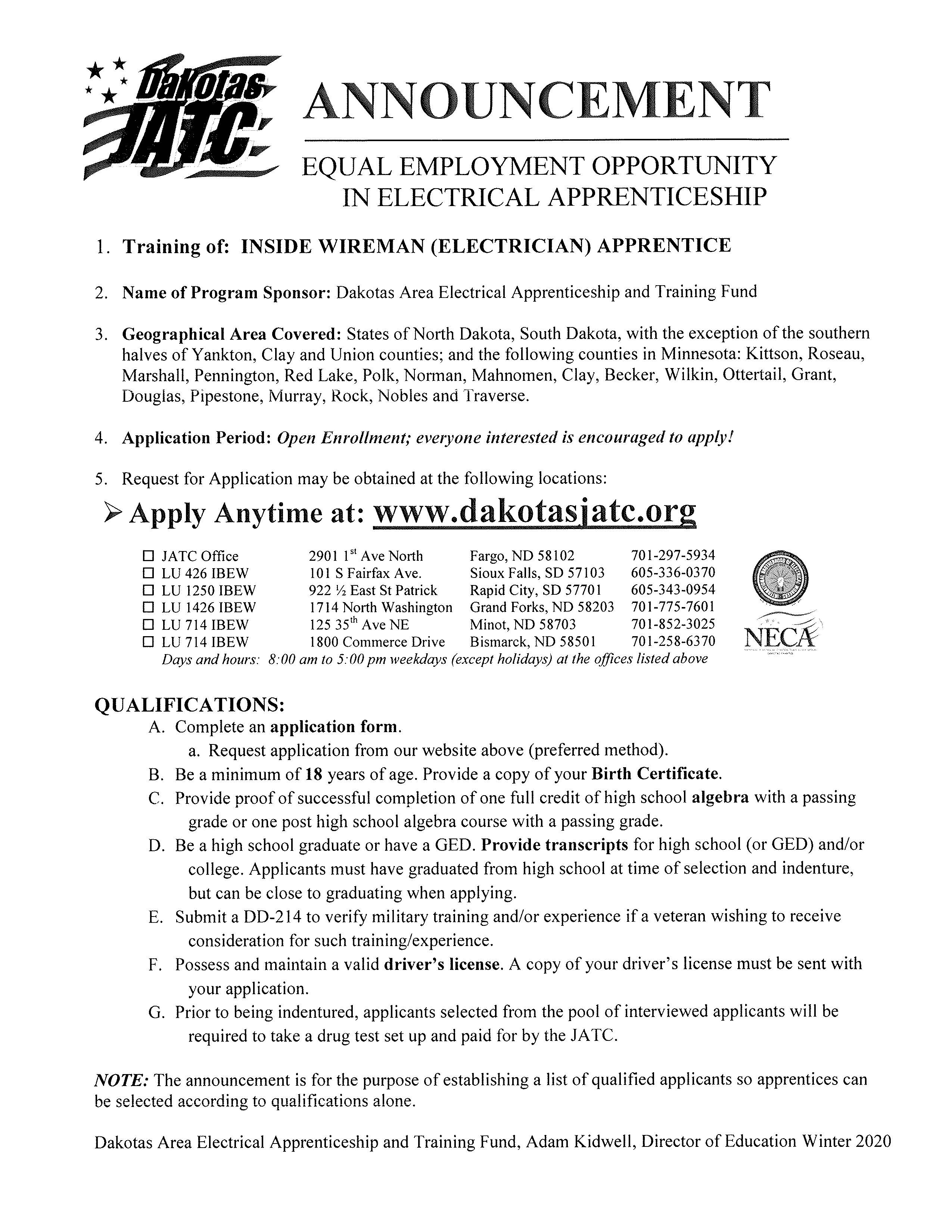 apply anytime at www.dakotasjatc.org